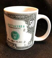 Money $50 Coffee Cup Mug Fifty Dollar Bill Ceramic 1993 Grant Currency