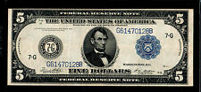 1914 $5 Large Size Federal Reserve Notes Chicago