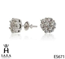 Flower 925 Sterling Silver / Gold Plated Stud Lab Diamonds Earrings Screw Back