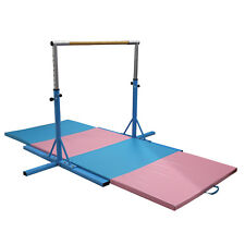 Adjustable Gymnastics Training Horizontal Bar Sports Equipment w/ Gym Mat Combo
