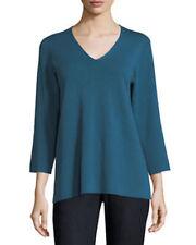 Eileen Fisher 100% Merino Wool Long Sleeve Knit Green V-Neck Sweater Sz S $288