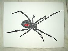 Canvas Painting Black Widow Spider Red B&W Gold 16x12 inch Acrylic