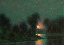 ORIGINAL TONALIST MOONLIT MOONLIGHT ANTIQUE STYLE LANDSCAPE  PAINTING MAX COLE