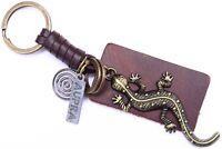 AuPra Royal Lizard Keyring    Leather Reptile Keychain   Key Ring Pendant Gift