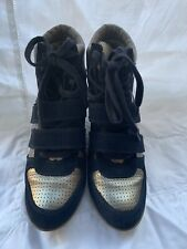 ASH Womens Wedge Sneaker Bea Lace Up Leather Double Strap Size 9 NIB!