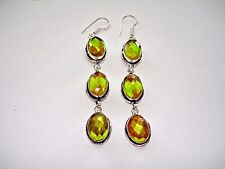 AB Green Orange Rainbow Mystic Topaz 3-Stone .925 Silver Dangle Earrings 3.25""