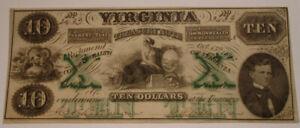 1862 Richmond VIRGINIA Treasury $10 Ten Dollar Bank Note crisp CHOICE CU