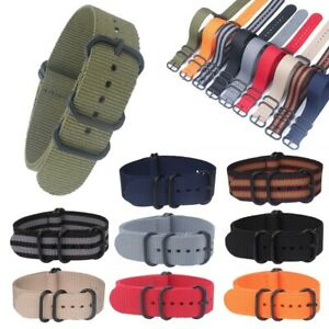 Men Women Nylon Watch Band Military Army Diver Buckle Wrist Strap 20mm 22mm 24mm