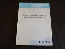 Original new technical Theory for servicing Sony removal of 8mm cassette