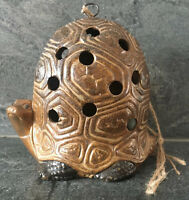 VTG Tortoise Turtle Hanging Ceramic Tea Light Lamp ETHNIC BOHO RUSTIC RETRO MOD