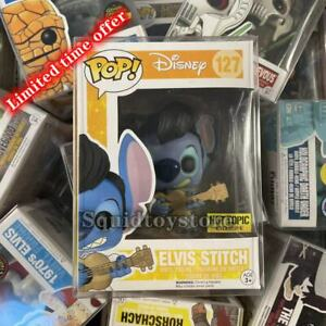 """Funko Pop!Disney Elvis Stitch #127 Exclusive Hot Topic """"MINT"""" With Protector"""