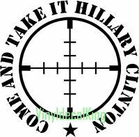 Second Amendment Gun Rifle vinyl decal Car/truck sticker never Hillary Clinton