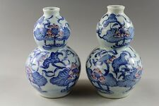 Chinese collection antique porcelain lotus painting gourd vases 7253