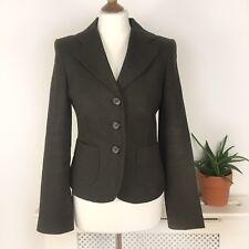 Hobbs Brown 100% Linen Tailored Jacket Blazer 10 Uk M Medium Lined Buttons