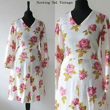 VINTAGE 1960S MOD DRESS FLORAL RETRO WHITE FLORAL ROSE SCOOTER GOGO BOHO 8 10