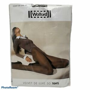 Wolford Velvet De Luxe 50 Tights Pantyhose Cocoa Brown Size Large Opaque, Matte