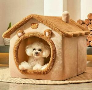 Pet Dog Cat House Beds Kennel Indoor Raised Tent Cushion Mat Chimney House Puppy