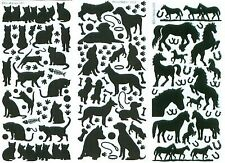 Animal Peel Off Stickers Black Cats Dogs Horses Assorted Sizes Card Making Craft
