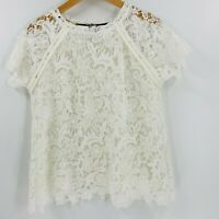 Anthropologie Guest Editor Floral Lace Top Size Medium Women Short Sleeves