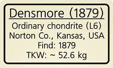 Meteorite label Densmore (1879)