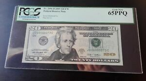 2009 $20 Federal Note FRN Fancy Super Low Serial 00000076 PCGS 65