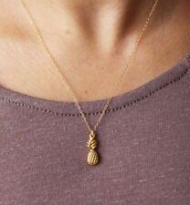 "Pineapple Necklace Gold Filled Pendant Island Beach Hawaiian Fruit USA 18"" chain"