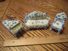 Porcelain Mini Couch Chair & Piano Set Hand Painted Vintage Doll Furniture