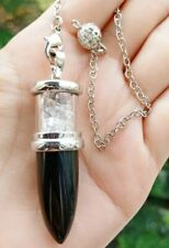 Black Agate Stone Pendulum Bullet Pendant Energy Power Reiki Healing Amulet