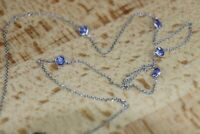 """Vintage 1.10CT Tanzanite Gemstone By the Yard 18""""Necklace in 14k White Gold Over"""