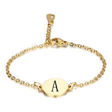 Gold Women Stainless Steel Alphabet Initial Letter Chain Bridesmaid Bracelet UK