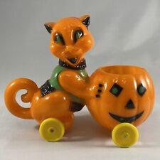 New ListingVintage Rosbro Hard Plastic Halloween Cat Pushing Pumpkin Candy Container