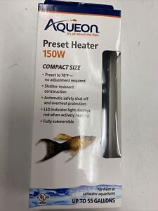 Aqueon Preset Heater 150W Compact Size Fresh/Saltwater Up To 55 Gallons New