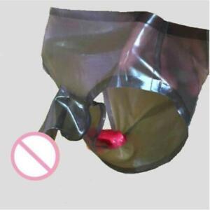 Mens Latex Rubber Dual Sheath Pants Shorts Black Translucent