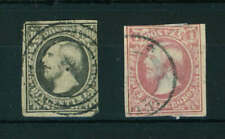 Luxembourg 1852 Wilhelm III 10c & 1Sgr stamps. Used. Sg 2 & 4.