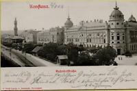 1501: Postkarte Ansichtskarte Konstanz Bahnhofstraße 1902 Prägebildkarte