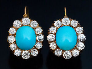 Antique Victorian Turquoise and Diamond Cluster Earrings in 10K Yellow Gold Over
