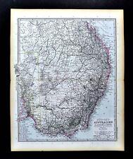 1892 Stieler Map SW Australia Sydney Melbourne Adelaide Victoria New South Wales