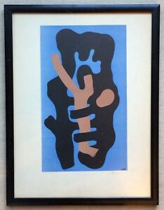 Fernand Leger Hand Signed in Pencil Lithograph Pochoir Elements Sur Fond Bleu