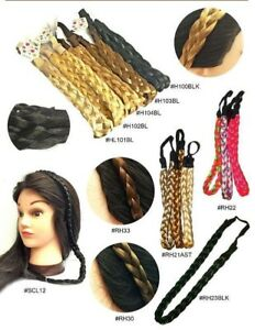 Womens Braided Synthetic Hair Plaited Plait Elastic Headbands Wedding Hairband