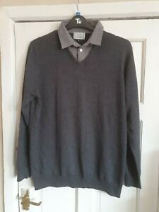 George Mens Mock Layer Jumper Shirt Combo. Size L. Light to Mid Grey