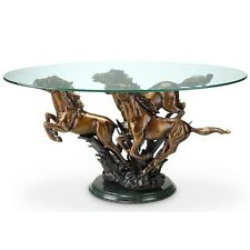 Galloping Horse Trio Coffee Table Stallion Western Equestrian Horses Marble Base