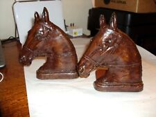 Vintage Syroco Wooden Brown Horse Heads with Metal Base Bookends J25