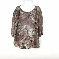 Lauren Conrad Womens Floral Scoop Neck Long Sleeve Sheer Blouse Size Large EUC