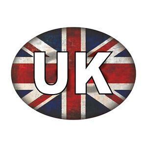 UK Car Stickers - Union Jack Grunge Oval Self-Adhesive Vinyl Car, Van, Lorry
