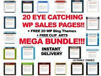 20 WP SALES PAGE TEMPLATES + 20 BLOG THEMES | MARKETING BUNDLE w/ FREE CLIP ART