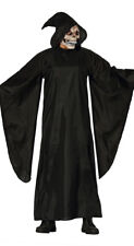 Adult Mens Grim Reaper Costume Black Death Eater Medieval Fancy Dress Robe
