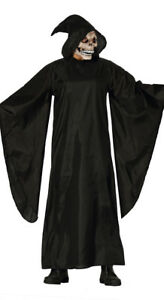 Adult Mens Grim Reaper Costume Black Death Eater Medieval Fancy Dress Robe NEW