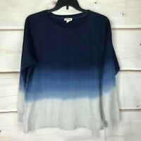 Style & Co Cotton Ombre Sweatshirt Womens XL Scoop Neck Blue Pullover Sweater