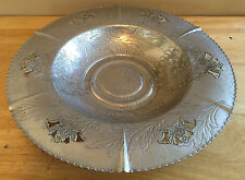 Vintage Aluminum Hand Wrought Tray Bowl Forman Family Chrysanthemums Mid Century