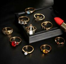 10Pcs Bohemian Vintage Gold Hollow Carved Rings Set Geometry Jewelry Set